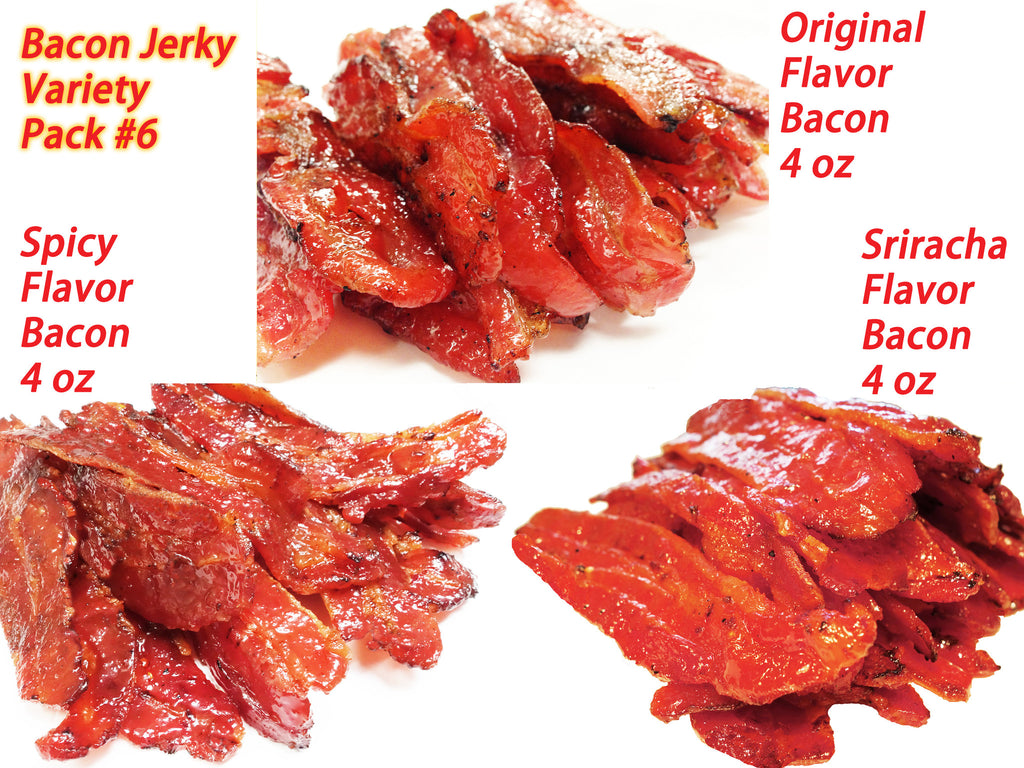 Variety Pack #6 Bacon Jerky- Original Flavor Bacon (4 oz), Spicy Bacon (4 oz), Sriracha Bacon (4 oz)