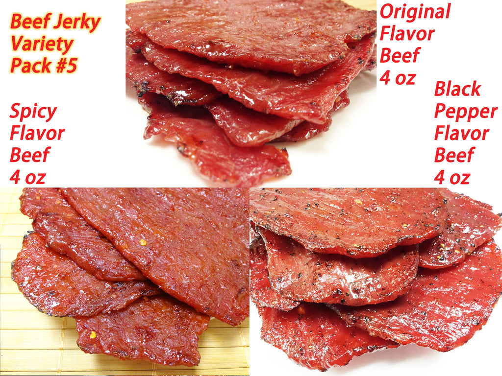 Variety Pack #5 Beef Jerky- Original Flavor beef (4 oz), Spicy Beef (4 oz), Black Pepper Beef (4 oz)