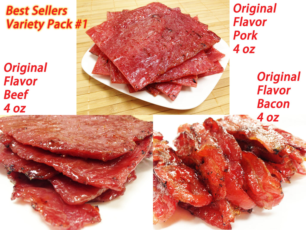 Variety Pack #1 Best Seller Jerky-Original Flavor Pork (4 oz), Orig. Beef (4 oz), Orig. Bacon (4 oz)