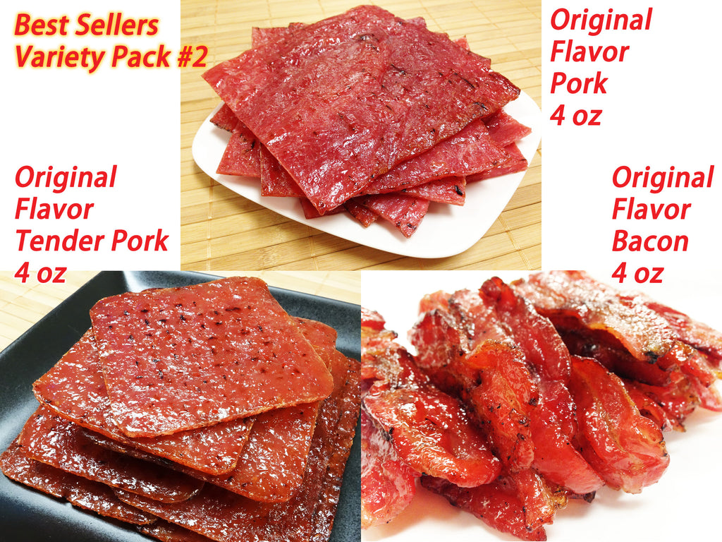 Variety Pack #2 Pork Jerky - Original Flavor Pork (4 oz), Tender Pork (4 oz), Original Bacon (4 oz)