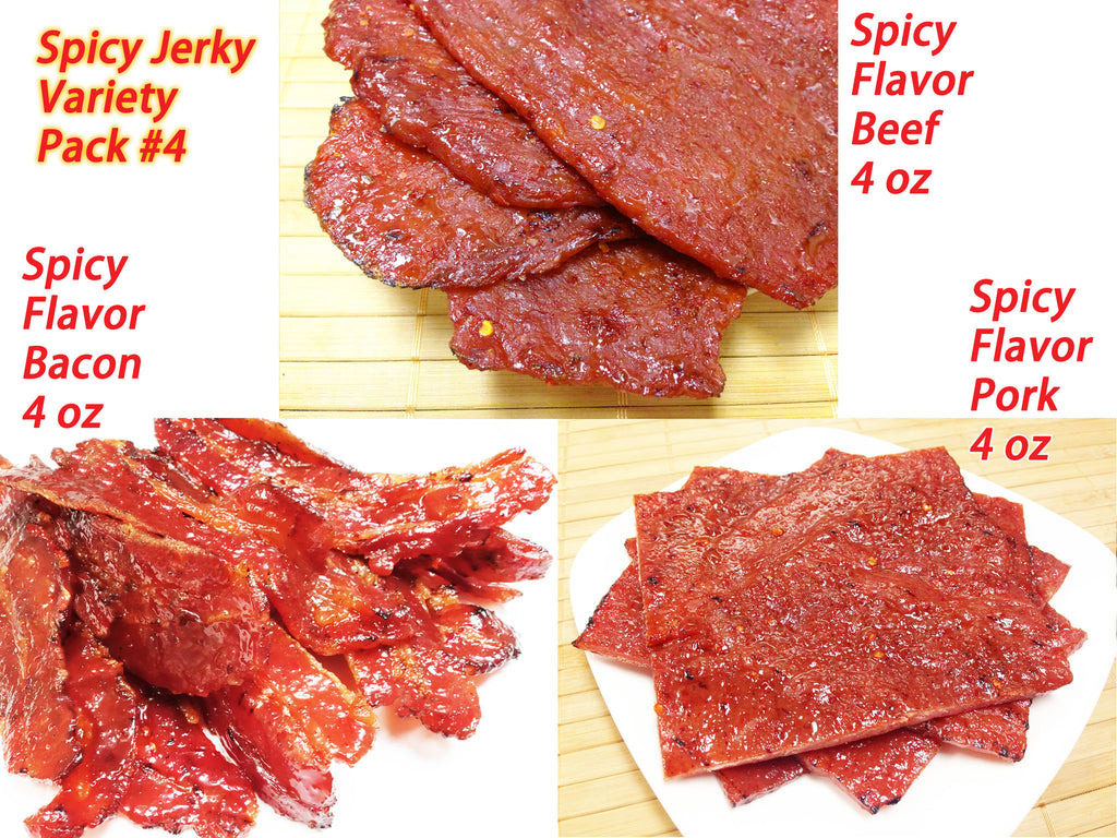 Variety Pack #4 - Spicy Jerky - Spicy Flavor Beef (4 oz), Spicy Pork (4 oz), Spicy Bacon (4 oz)