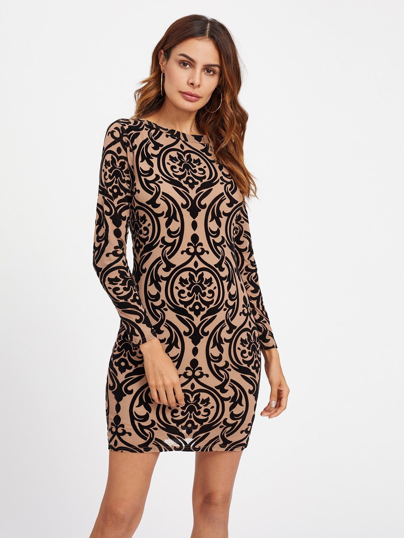 Damask Print Keyhole Back Bodycon Dress