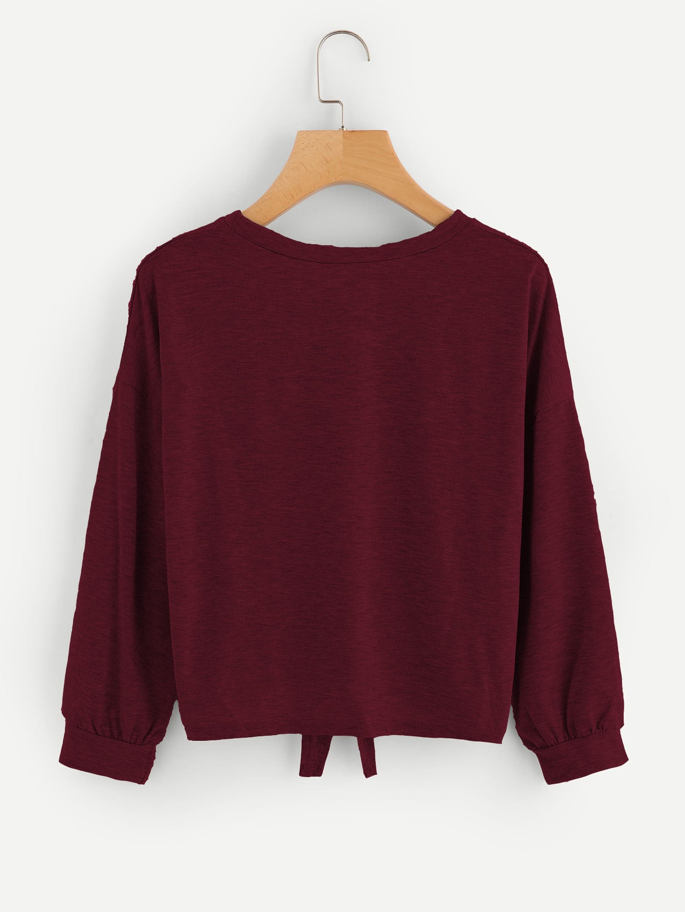 Drop Shoulder Knot Front Marled Sweatshirt