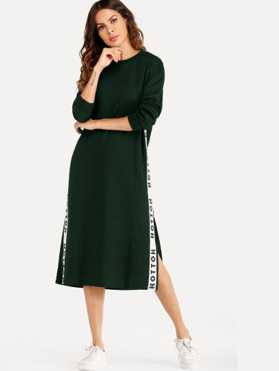 Letter Print Side Split Sweatshirt Dress