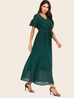 Solid Flounce Sleeve Belted Chiffon Dress