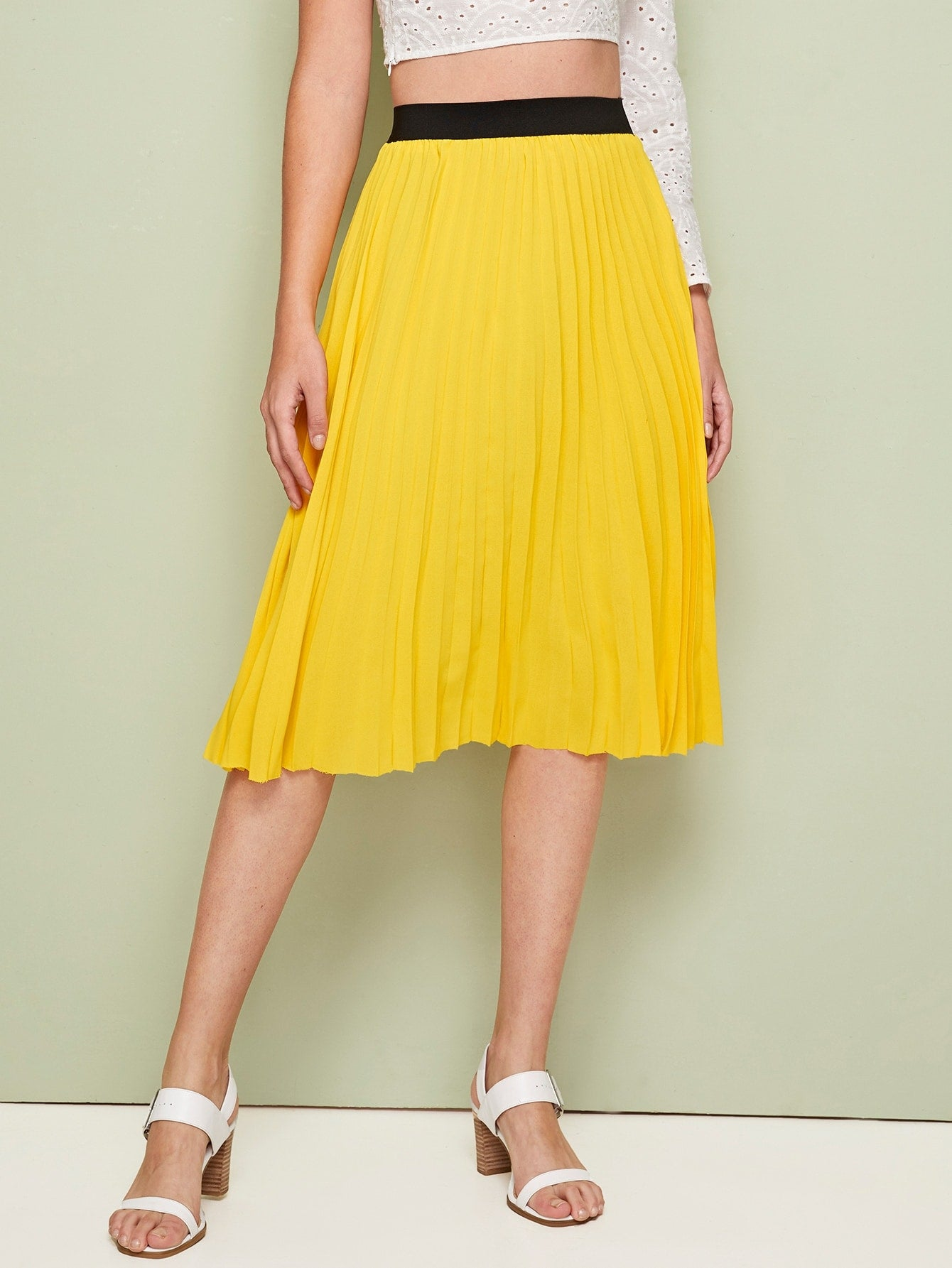 Contrast Waist Pleated Skirt
