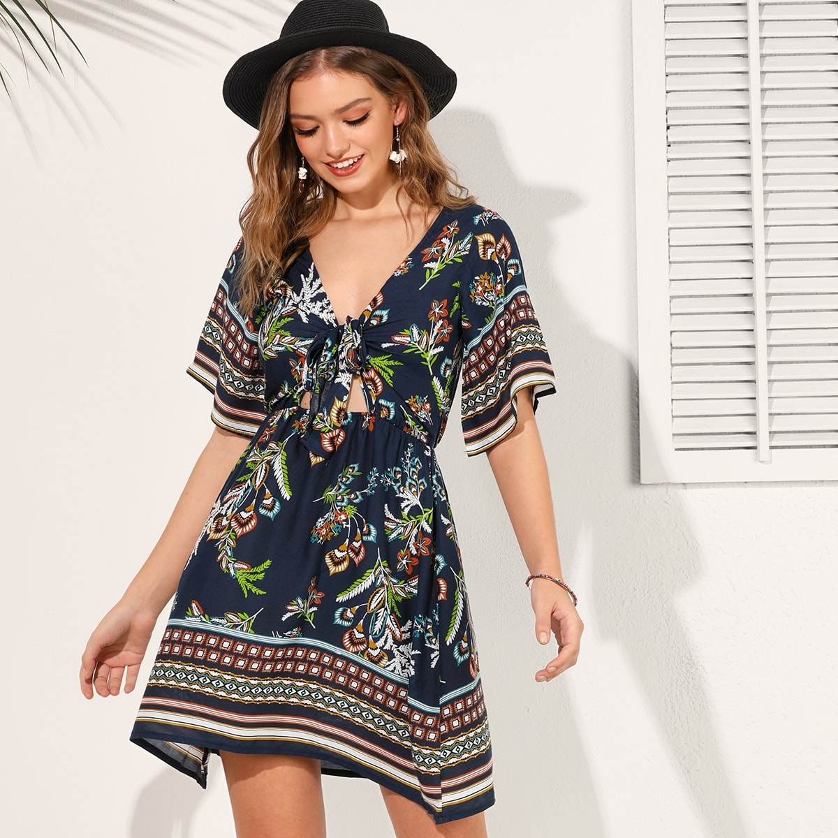 Tribal Print Tie Front Peekaboo Dress