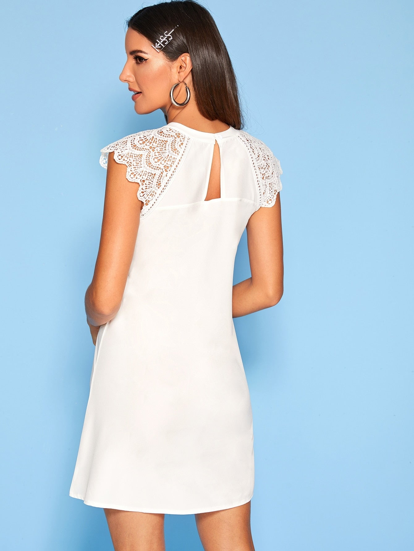 Solid Contrast Lace Cuff Dress