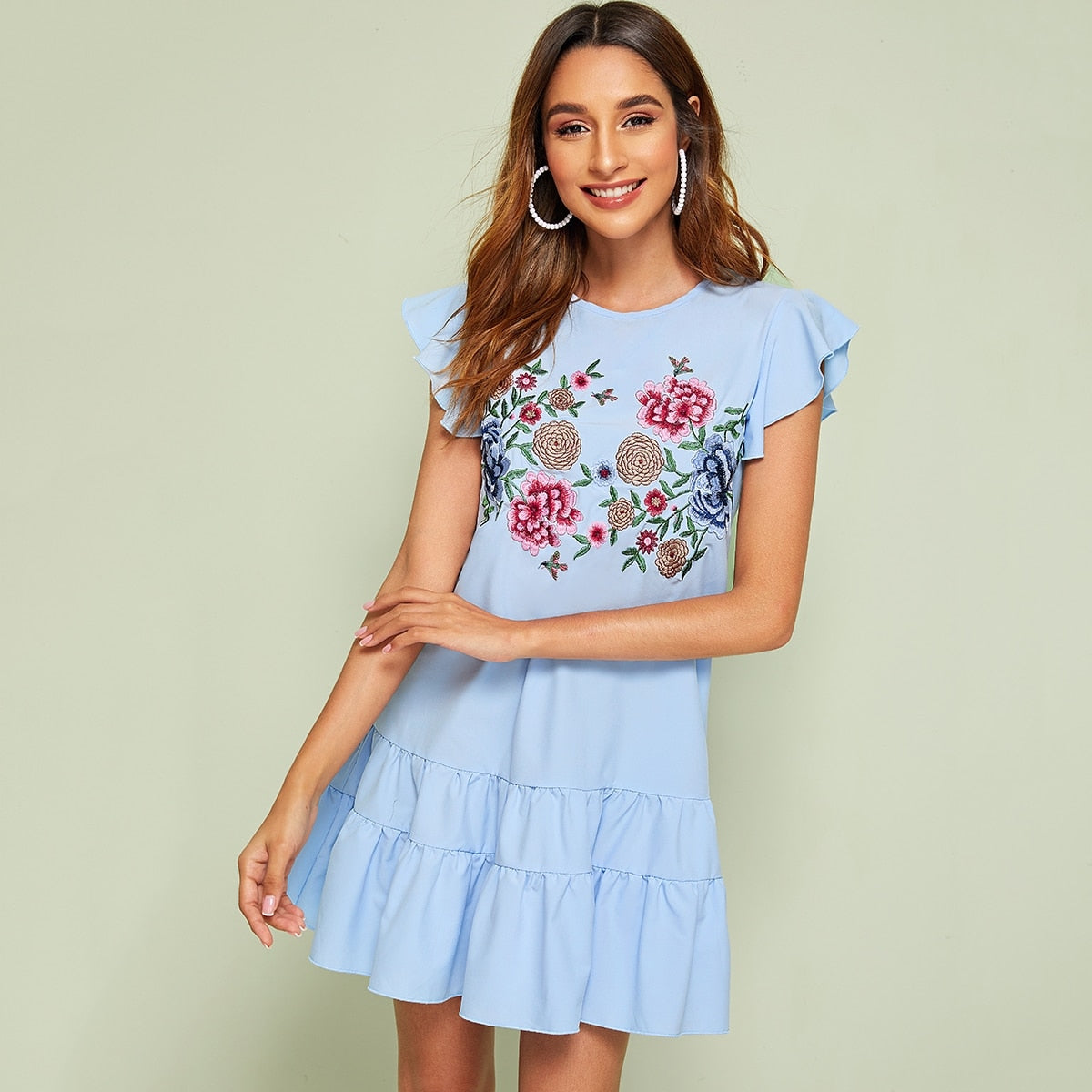 Floral Embroidery Button Keyhole Ruffle Hem Dress