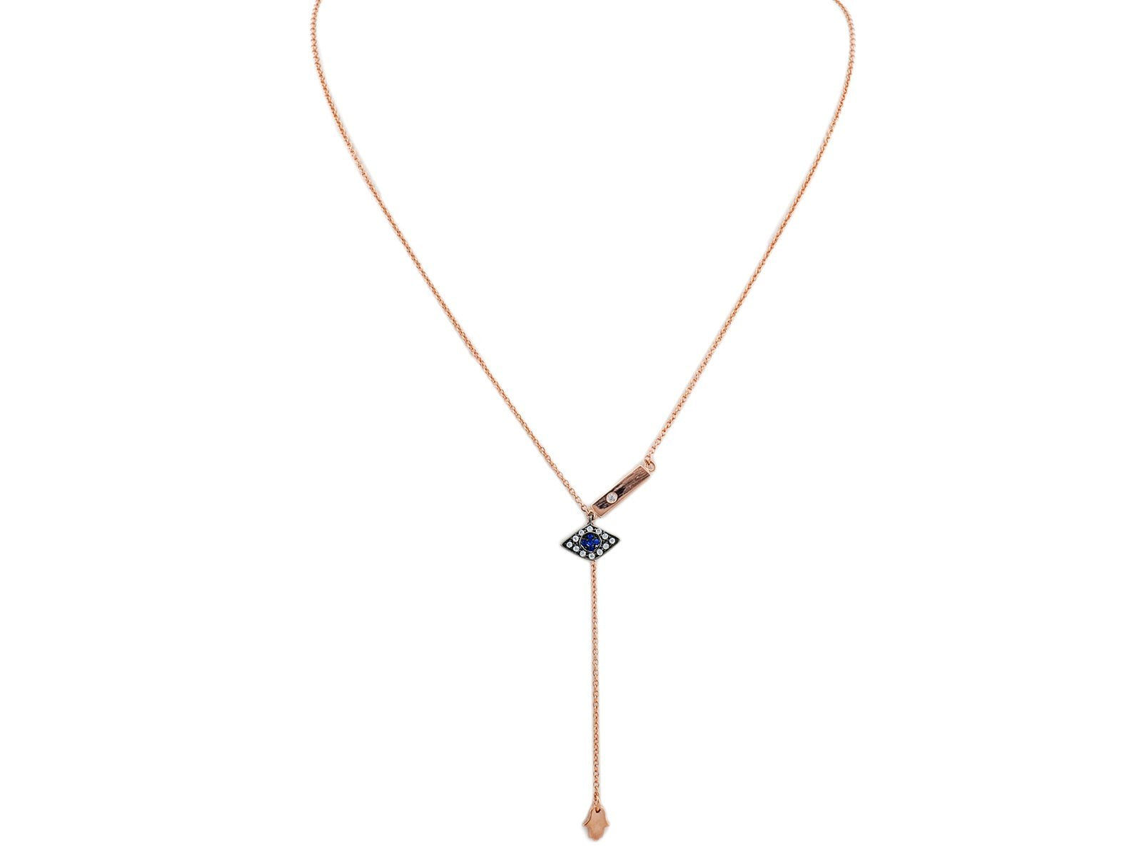 Rose Gold Plated Silver Hamsa and Eye Lariat