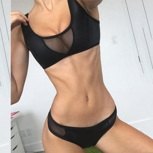 Magnificent Women Bandage Bikini Set Solid Sports