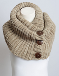 Mocha Knit Button Infinity Scarf