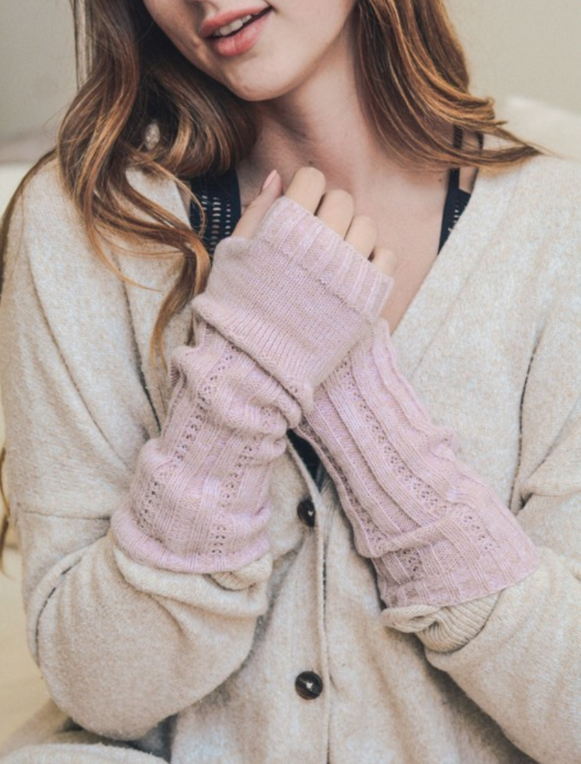 Soft Pink Ribbed Arm Warmers