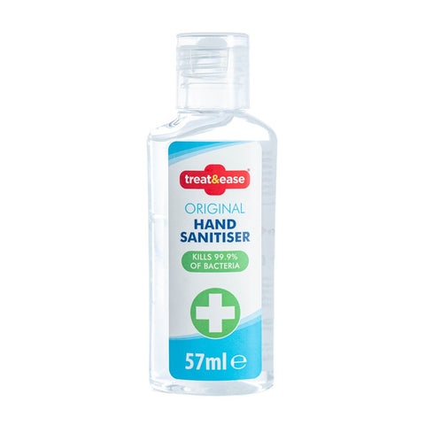 TREAT & EASE ANTIBACTERIAL 57ml HAND SANITISER - QUICK DRYING HAND GEL KILLS 99% BACTERIA