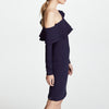 Mid-Length Long Sleeve Diagonal Shoulder Ruffle Slim Sexy Party Dress