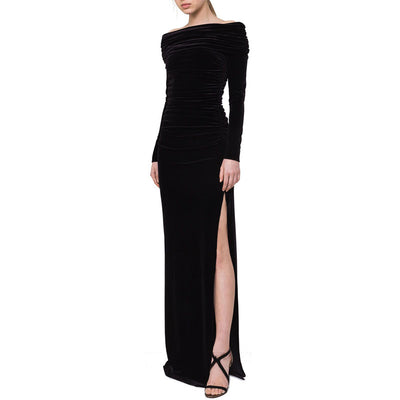 Retro Velvet Long-Sleeved Fold Party Evening Dress