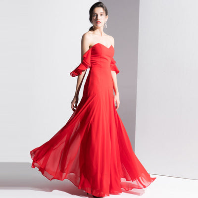 A New Red Long Chest-Wiping Party Dress.