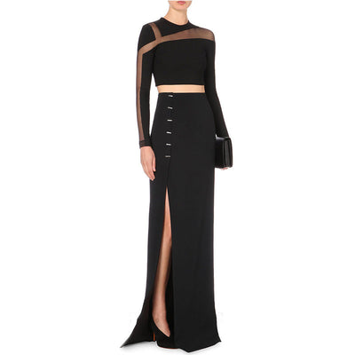 Black Long-Sleeved Scone Dress Two-Piece Set