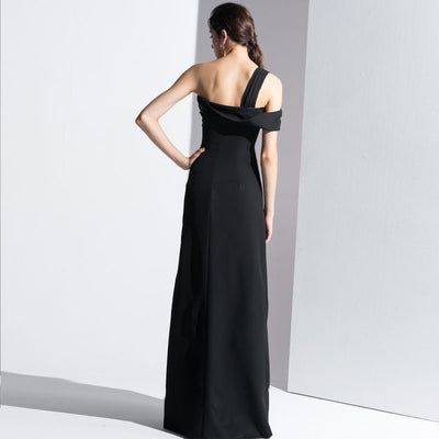 Black Single-Shoulder Long Evening Dress, Party Evening Dress