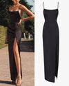 Black Left Split Dress Gallus Sleeveless Prom Evening Dress