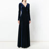 High Gloss Long Sleeve Deep V Vintage Velvet Evening Dress
