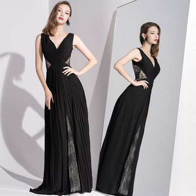 Black Evening Dress With A Romantic, Three-Dimensional Fold