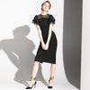 Black Mid-Long Short Sleeve Simple Commuter Evening Dress Dress