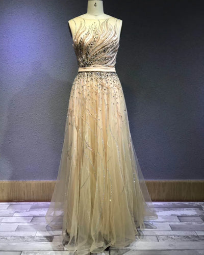 Feather Style Evening Dress Women Formal 2019 Sexy Round Neck Design Dress Luxury Evening Dresses for Women
