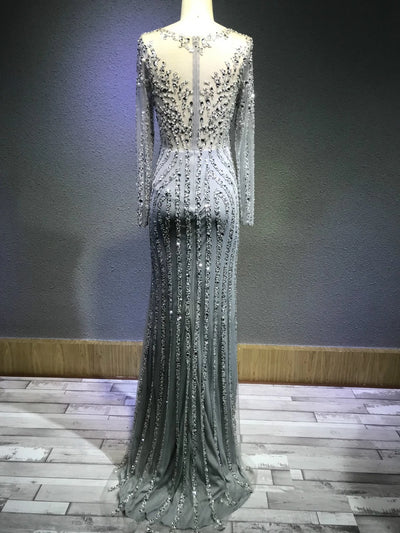 Sexy Mermaid Evening Prom Dress Long Royal Blue Tulle Quality Crystal Beads Luxury Bridal Gown Bride Full Sleeve Wedding Dress