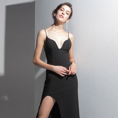 Black Suspender Deep V Sexy Dress