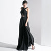 Simple Cool Wind Long Floor Drain Back Sexy Slim Evening Dress