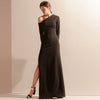 Black Leaning Shoulder Long Sleeve Party Dress