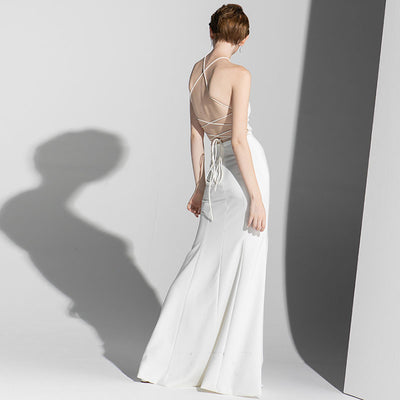 Tube Top Long White Evening Dress
