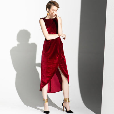 Classic Westernized Sexy Leaky Back Wind Velvet Dresses