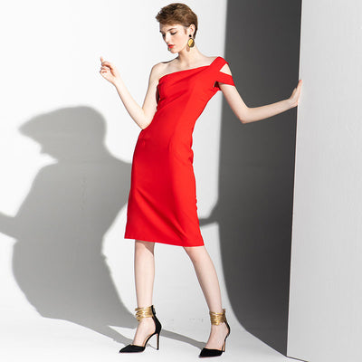 New Light Party Pingle-Shoulder Sexy Thin Red Dress