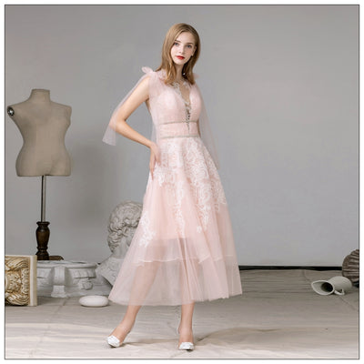 Fresh Pink Mid-Length Bridesmaid Dress
