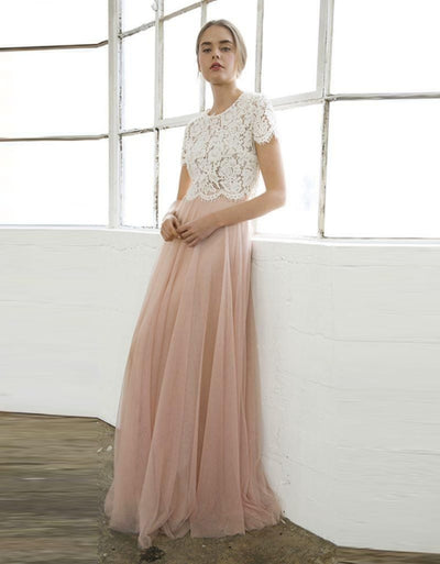 Pink Lace Two-Piece Bridesmaid Dress