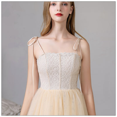 Medium And Long Style Fresh Champagne Suspender With Simple Bridesmaid Dress