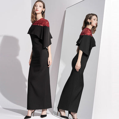 Simple Cutting Line Embroidery Bright-Piece Long-Length Shawl-Type Slim-fit dress