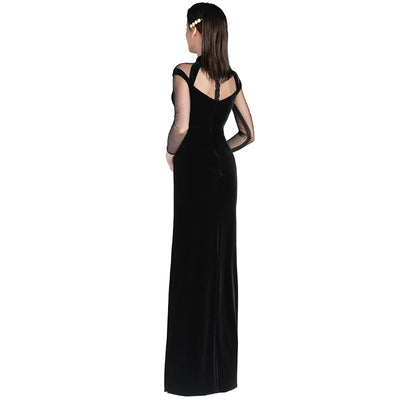Black Sexy Long-Sleeved Retro Velvet Evening Dress