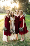 Red Suspender Shawl Outdoor Lawn Bridesmaid Dress