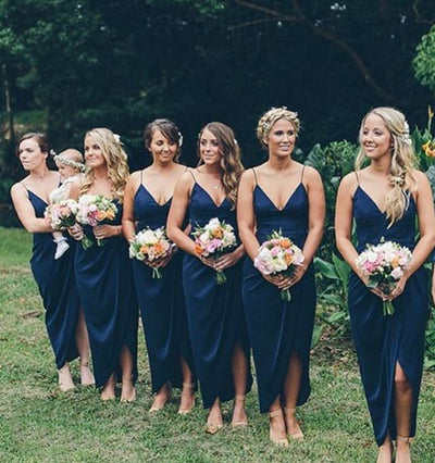 Long Lawn Wedding Outdoo Blue Bridesmaids Dress