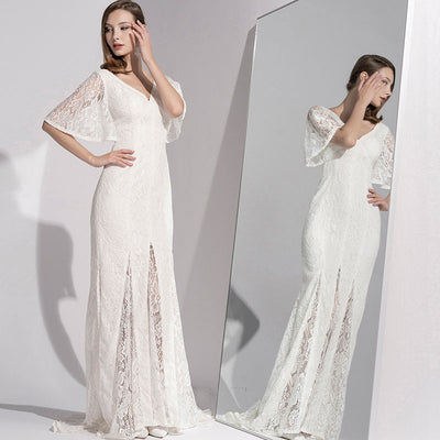 French Concise Elegant Lace Tail Dress