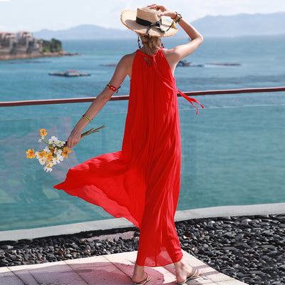 2019 New Loose Pleated Island Holiday Dress