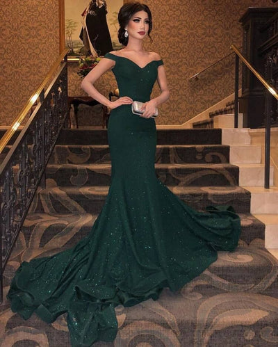 Sexy Sleeveless Shining Prom Dress Tulle Beads Mermaid Trumpet Design 2019 Luxury Green Crystal Women Formal Evening Party Gown Bridal Wedding Gown