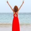 Seaside Holiday Women's Dress Red Open-Backed Dress