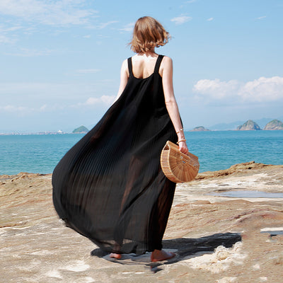 Summer Pleated Off-The-Shoulder Loose Sling Dress