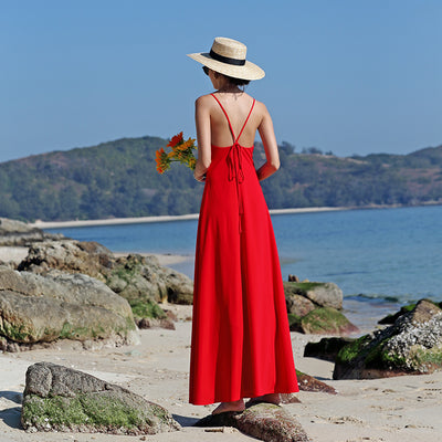 Beach Sling Dress With Exposed Back