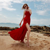 Red Dresses With Outer Backs On Seaside Holidays