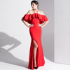 Red Flounces Slim Sexy Bridal Evening Dress Party Annual Party Evening Dress
